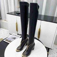 프론트 지퍼 디자이너 허벅지 하이 부츠 여성 패션 소 가죽 무릎 부츠 이상의 탄성 7.5cm Chunky Heels Martin Booties