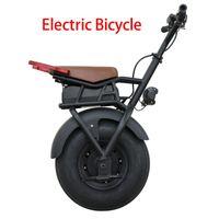 전기 자전거 큰 단일 휠 외발 자전거 수레 스포츠 자동차 18 인치 팔걸이 와이드 타이어 오토바이 자전거 조명