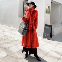 Women's Fur & Faux N Home Imported Mink Coat Female Whole Sable Long Thin Scarf Belt Crown Velvet