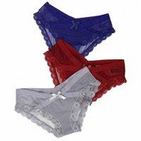 3pcs / lot Lace Donne Mutandine Sexy Bow Cross-Biancheria intima trasparente Trasparente Traspirante Bassa Rise Slip per le signore femminile di alta qualità I65V #