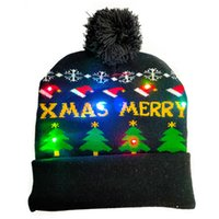 NEW Christmas Decorations Colorful LED Light Hat Snowman Cartoon Pattern Luminous Knitted Cap Beanie For Children Adult Xmas Festival Party W204