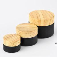 Bocons cosmétiques de bocaux de verre givrés Noir avec couvercles en plastique de bois PP LINER 5G 10G 15g 20g 30g 50g emballage de lèvres HWWE8645