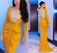 Yellow Mermaid Prom Dresses 2021 Arabic Aso Ebi Lace Appliques Long Sleeves Evening Gowns Satin Ruched Women Second Reception Formal Party Dress Plus Size AL9352