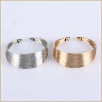 Hand catenary Cash inner diameter 60mm steel wire electroplating men's and women's open Gold Silver Hair Bracelet
