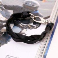 Haken Leder Webart Braid Armband Retro Schwarz Braune Armbänder Für Frauen Männer Modeschmuck Wille und Sandy