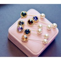 5PC Boutonniere Rhinestone Head Scarf Brooch Hijab Pin Lapel Islamic Wedding Flower Exquisite Elegant Pearl Gifts For Women C3