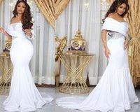 2021 Plus Size Arabic Aso Ebi Beaded Mermaid Sexy Wedding Gowns Long Sleeves Sheer Neck Satin Bridal Dresses Robe De Marriage