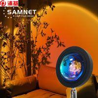 Закат Проекция Ночные огни Живая Весна Фон Как Galaxy Projector Atmosphere Rainbow Лампы Украшения для спальни