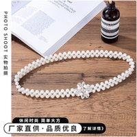 Pearl Waist Chain Womens 2021 Decorative Dress Belt Womens Elastic Dignified Rhinestone Thin Belt Fashion Waistband Belt