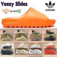 Con caja Adidas Yeezy diapositivas Slipper Sandalias Sandalias Diseñador Zapatos Enflame Anaranjado Engueras Desierto Arena Resina Tierra Tierra Marrón Solape Hombre Doblar Diapositiva 4-12.5