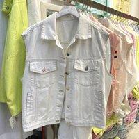 İlkbahar Yaz 2021 Kore Gevşek Vintage Beyaz Kot Yelek Kadın Tek Göğüslü Kolsuz Denim Ceket Lady Harajuku Veste Femme Bayan Ves