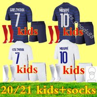 Maillots 2021 Frankreich Fussball Jersey Mbappe GRIEZMANN Equipe de 20 21 Kante Pogba Enfant Kits Kit Uniformen Socken