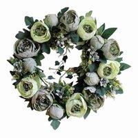 40cm Large Door Wreath Artificial Flower Topiary Outdoor Indoor Hanging Decor Decorative Flowers & Wreaths