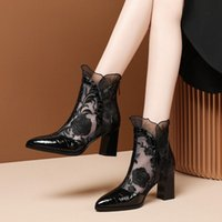 Spring and summer new womens mesh sandals hollow leather thick-heeled high-heel embroidered boots Baotou breathable pointed