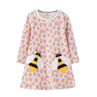 Jumping Meters Long Sleeve Animal Bee Applique Flowers Girls Dresses for Autumn Spring Cotton Children's Clothes Costumes Dress 210317
