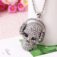 Pendant Necklaces Headset Strass Sugar Skull Necklace Hippie Chic Punk Statement Jewelry Skeleton Silver Color Long Women Collar