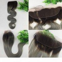13x4 dentelle brésilienne fermeture frontale ombre 1b gris cheveux humain vierge vague radre de corps blanchi noeuds libres
