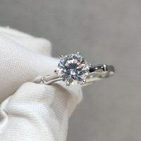 Inbeaut وصول 925 الفضة الممتازة قطع 1 ct d اللون تمرير الماس اختبار مويسانيت باطراد ارتفاع حلقة في سن المراهقة الفتيات المجوهرات