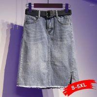Plus Size Split Kurzer Mini-Jeans Röcke 5XL Sommer Vintage Retro Blau Fransen Quaste Saum Beiläufiger Bleistift Denim Rock mit Gürtel frei1
