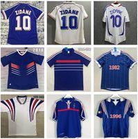 1998 Ретро версия Франция Футбол Джерси 96 98 02 04 06 Zidane Henry Maillot de Foot Футбол футболка 2000 Главная Трешегует Футбольная форма