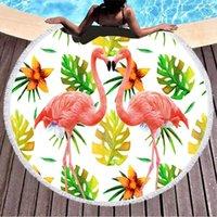 Towel Flamingo Sea Beach Pareo Fringed Round Cover Up Microfiber Bath Serape