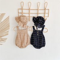 Infant Baby Girls Boys Bodysuits Plaid Print Sleeveless Autumn Casual Toddler Jumpsuits With Hat Kids Overalls Outfits 2267 V2