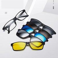 Óculos de sol polarizados homens mulheres 5 em 1 clipe magnético em óculos tr90 prescrição óptica quadros ímã quadros