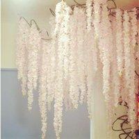 180cm Long Elegant Artificial Silk Flower Wisteria Vine Hydrangea Rattan For Wedding Decor Props 22 Colors In Stock Decorative Flowers & Wre