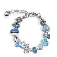 Moda 925 Plata Original Pandoras Blue Elephant Pulsera de cristal Set de vidrio Charm Bangles Brazaletes para Mujeres DIY Joyería Regalos Pulseras