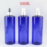 زجاجات تخزين الجرار 500ML زجاجة بلاستيكية مسطحة أزرق مع مضخة رش الفضة، 500cc حاوية مستحضرات التجميل فارغة الحبر / المياه الفرعية الروبوت