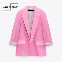 Kadın Takım Elbise Blazers HWLZLTZHT Kadın 2021 Pembe Blazer Kadın Ceket Moda Keten Uzun Kollu Rulo Manşetleri Zarif Giyim Gevşek Kadın