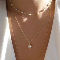 Chains Jacoso Vintage Woman Multilayered Fashion Pearl Necklaces Bride Party Jewelry Charm Chain Bohemian Choker Necklace For Birthday