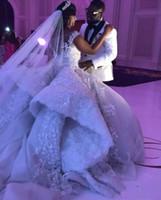 Luxus Spitze Ballkleid Brautkleid Von Schulter Kristall Brautkleider Böhmischen Plus Größe Spitze Hochzeitskleid mit abnehmbarem Zug