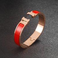 4 colors Classic Letter Enamel Bracelet Women's Titanium Steel Designer H Luxury Luxury Bracelets Fashion Jewelry Men Mens Gift D2110211HL