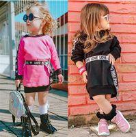 1-6Y Children Girls Dress 2021 Autumn Winter Baby Clothes Kids Long Sleeve Pullover Dresses Sweatshirt +Love Belt Girl Outfits