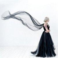 Gelin Veils Siyah Fildişi Tül Düğün Pelerinler Uzun Beyaz Şampanya Vintage Omuz Pelerin Gelinler Velos de Novia 2 3 m