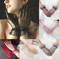 خمسة أصابع قفازات 1 pair النساء تول شبكة الدانتيل حزب مثير فساتين الصيف الكامل الأصابع واقية من الشمس للبنات القفازات