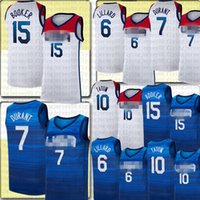 Devin 15 Booker Kevin 7 Durant Jayson 10 Tatum Damian 6 Lillard Jersey National Team Jerseys Blanco Azul Mens 2021