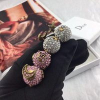 70٪ خصم مجوهرات عالية الجودة جديد كامل كامل الكرة الماس ستار أقراط النحاس الذهب مطلي الأقراط الإناث