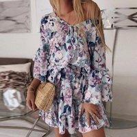 Traje de baño para mujer Vestidos para mujer Llegada 2021 Manga larga Floral Mini Swing Vestido Verano Holiday Beach Ruffle Frill Sundress Vestido de Mujer