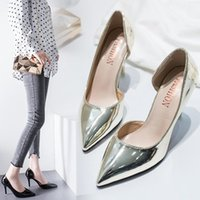 Dress Shoes Women Pumps Mid Heel Pump Ladies Pointed Toe Casual Sandals High Heels Wedding Sexy Gold Silver Zapatos Mujer 8cm R5