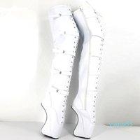 """화이트 18cm 레이스 최대 7 """"극단적 인 하이힐 부츠 섹시한 페티쉬 버클 발굽 발레 발레 부츠 여성 신발 Zip over-the-nee thigh high long boots"""