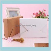 랩 이벤트 축제 홈 Garden10pcs 크래프트 종이 패키지 파티 웨딩 용품에 대 한 흰색 봉투 선물 상자 호의 상자 캔디 가방 드롭 델리