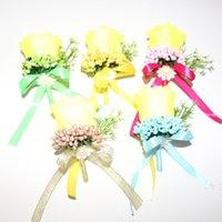 50 pcs \ lote convidado boutonniere pinos artesanais diy moda tecido de seda rosa homens broche corsage flor para decoração de festa de roupa