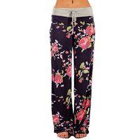 Jaycosin Pants Womens Cotton Comfy Stretch Floral Print Drawstring Palazzo Wide Leg Lounge Full Length Skinny Pantalon Women's & Capris