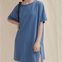 T-shirt Femme O T-shirt O Cou Sleeve Sleeve Chic spllit Design Femme T-shirts 2021 Summer Candy Couleur T-shirt T-shirt Marée de mode Tous correspondent Tee-shirt