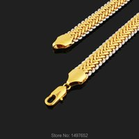 Trendy Two Tone Necklace Gold Silver Plated 11MM 22 Inches Snake Chain Necklaces Jewelry Men Chains