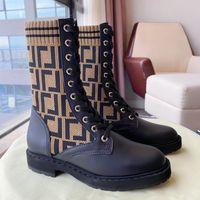 Brown FF Zucca de malha meia-estilo de mesa flats tornozelo botas Rockoko logo-jacquard trecho-malha e couro combater botas para mulheres Luxury Designer Sapatos Fábrica Calçado