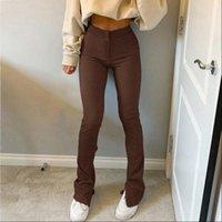 MoneRffi Streetwear Brown Sweatpants Tracksuit Women Pant Sport High Waist Side Split Fashion Skinny Long Trousers Y2k Capris