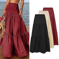 Saias Zanzea Mulheres Casuais Ruffles Feminino Vintage Long Maxi Saia Algodão Linho Vestidos A-Linha Jupe Femme Streetwear 5xl